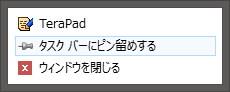 TeraPad タスクバーオプション