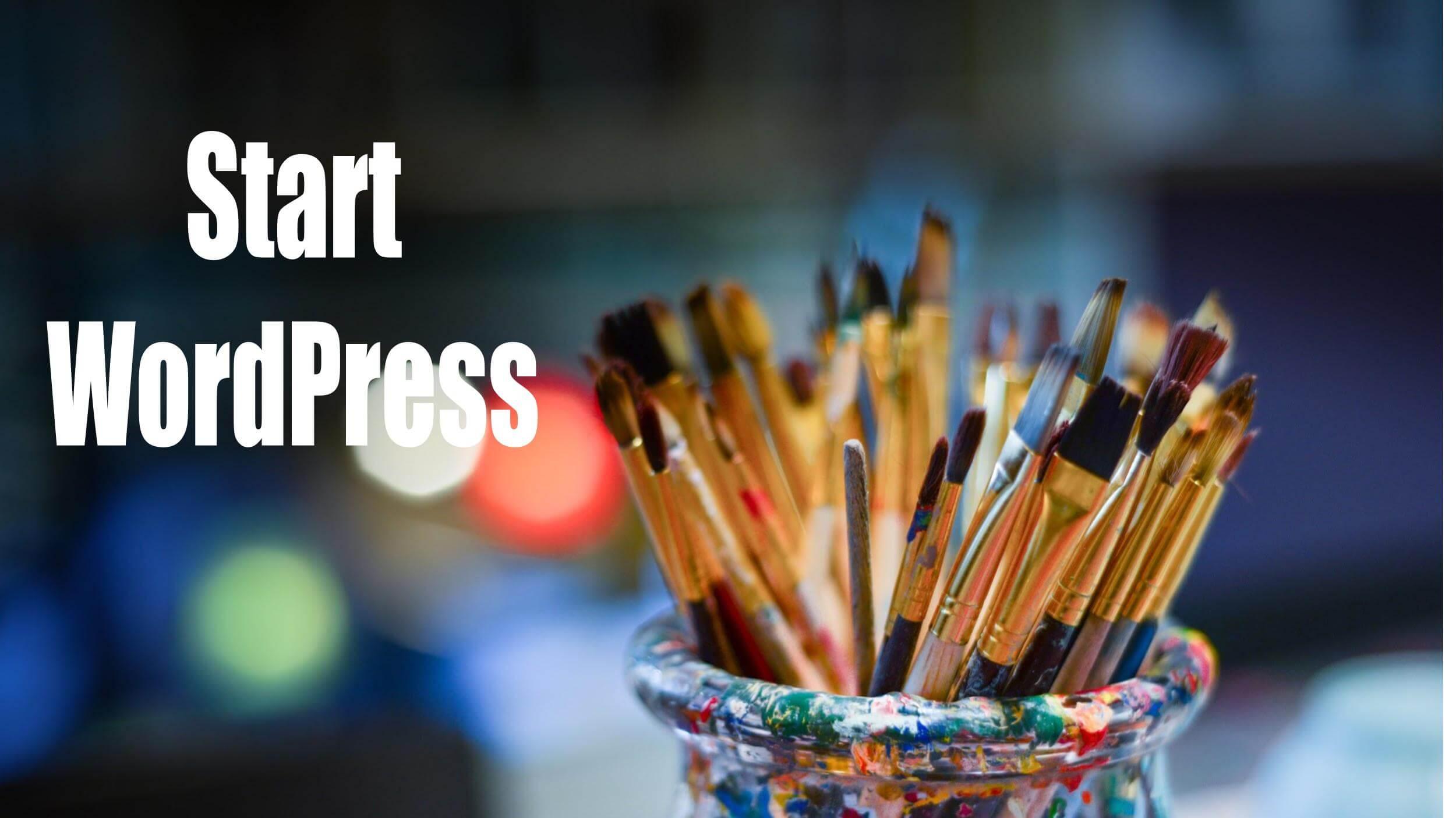 たくさんの筆「Start WordPress」