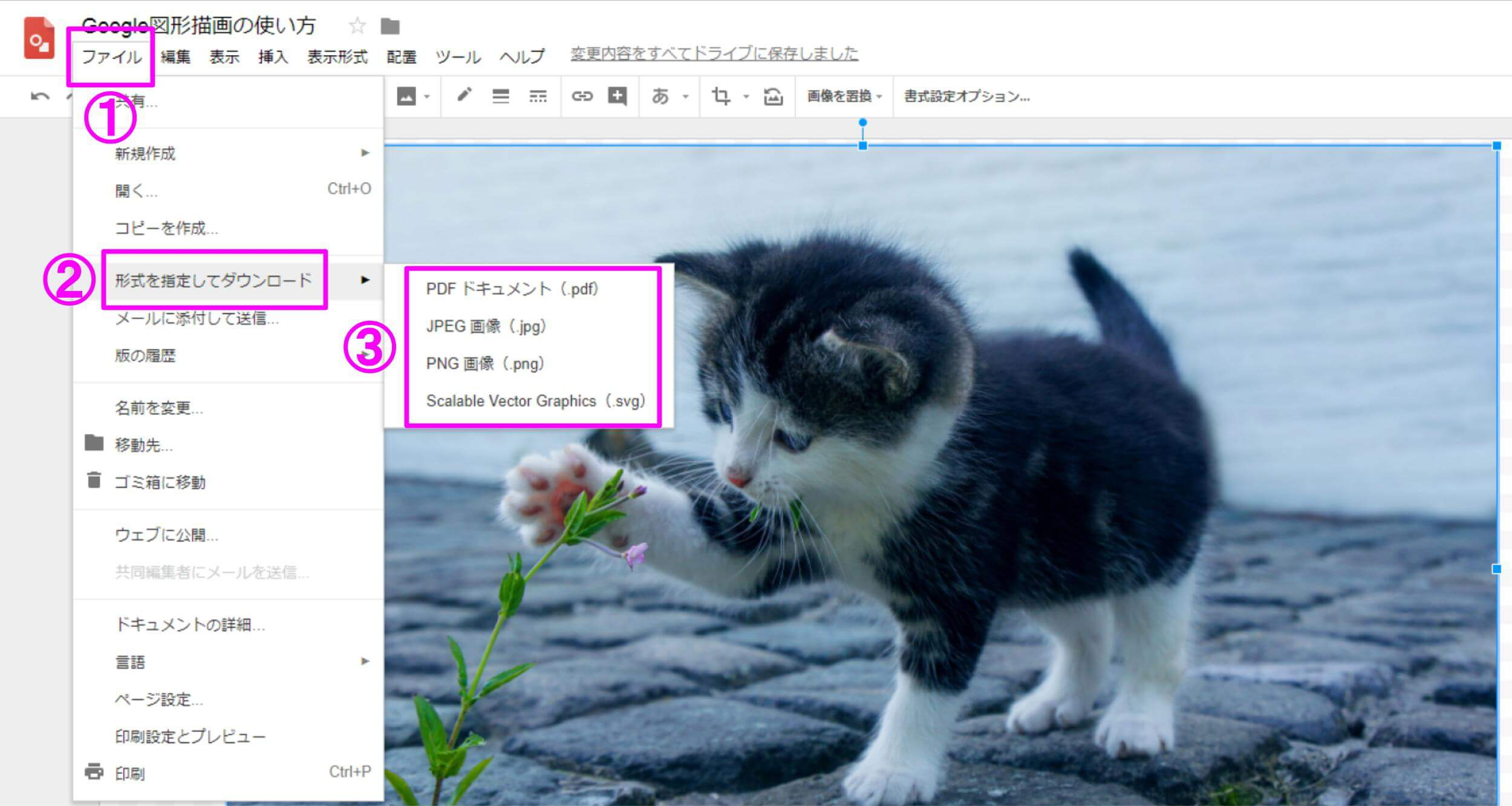 Google図形描画の使い方 ファイル→形式を指定してダウンロード→画像形式選択
