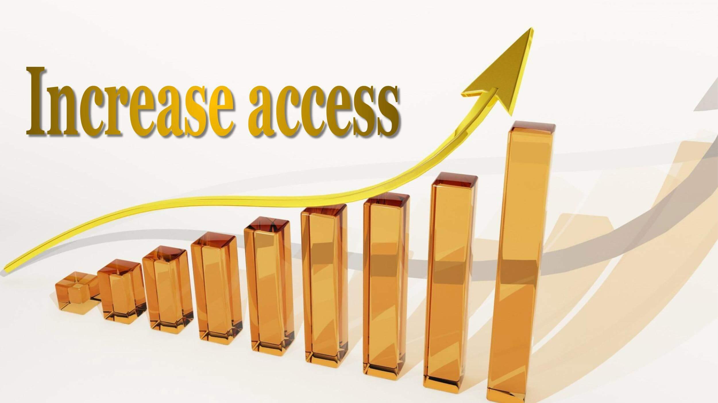 右肩上がりのグラフ「Increase access」