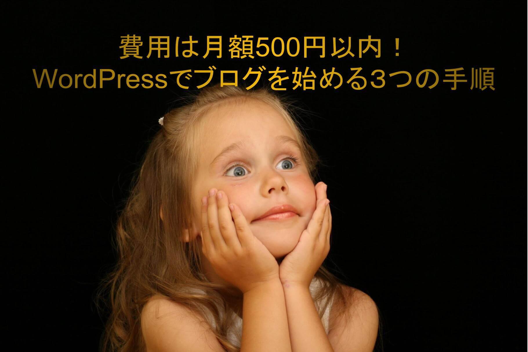ときめく白人の女の子 テキスト「費用は月額500円以内! WordPressでブログを始める3つの手順」