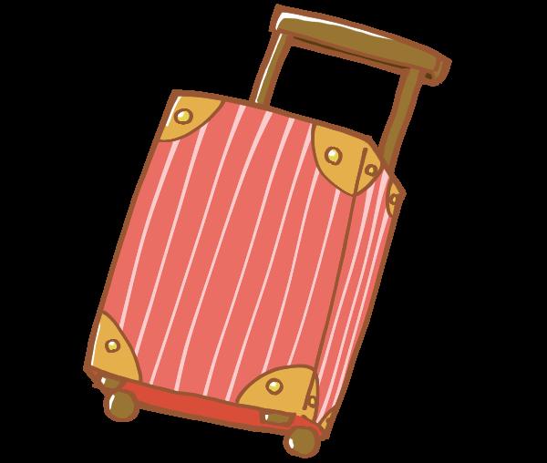 白いストライプ模様の赤いキャリーバッグ