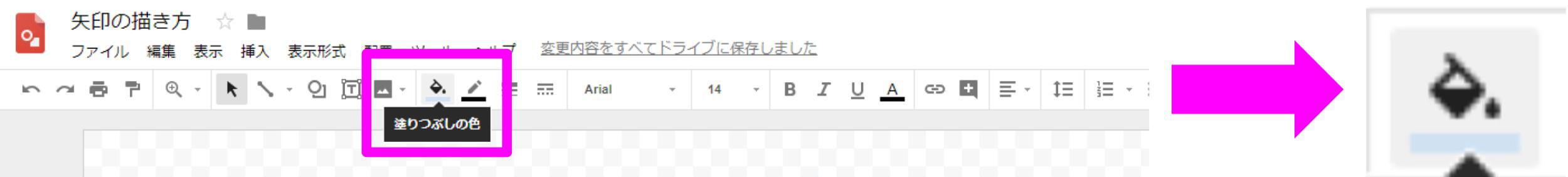 Google図形描画 ツールバー 塗りつぶしの色