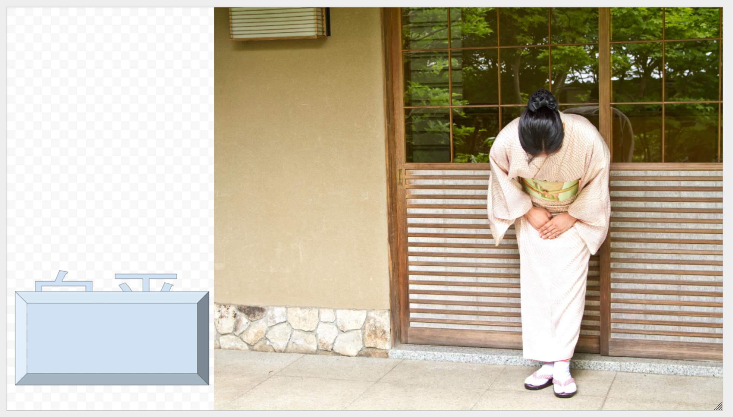 Google図形描画 玄関先で出迎える女将とベベルに隠れる白平