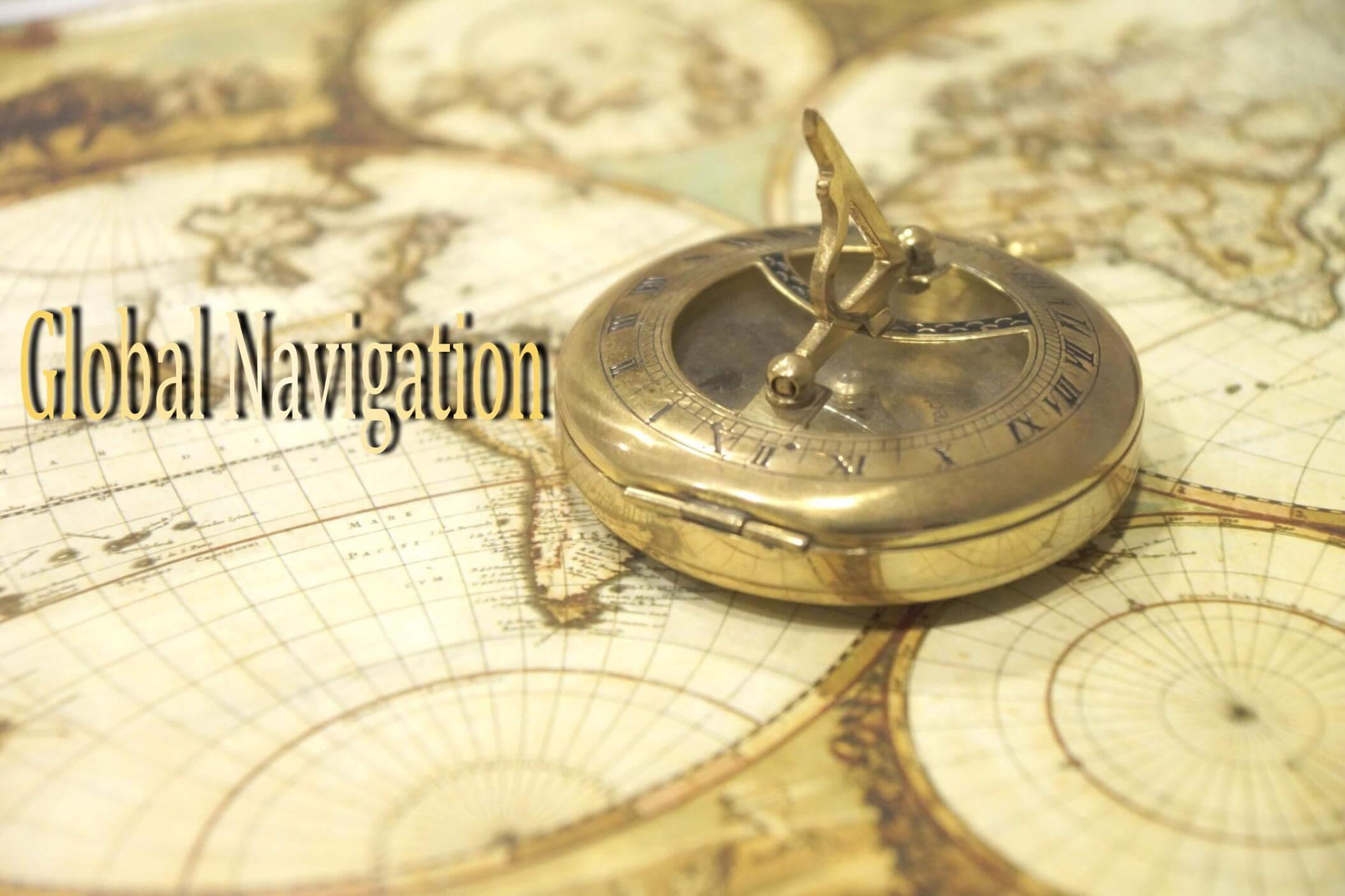 古地図に置かれたコンパス テキスト「Global Navigation」