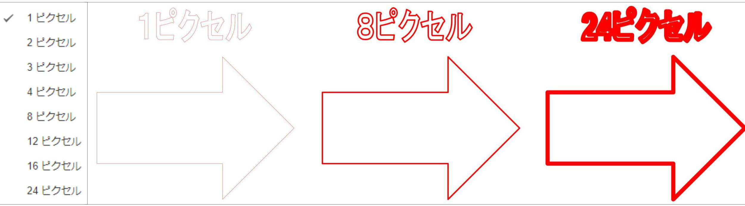 Google図形描画 ツールバー枠線の太さ ピクセル選択とパターン