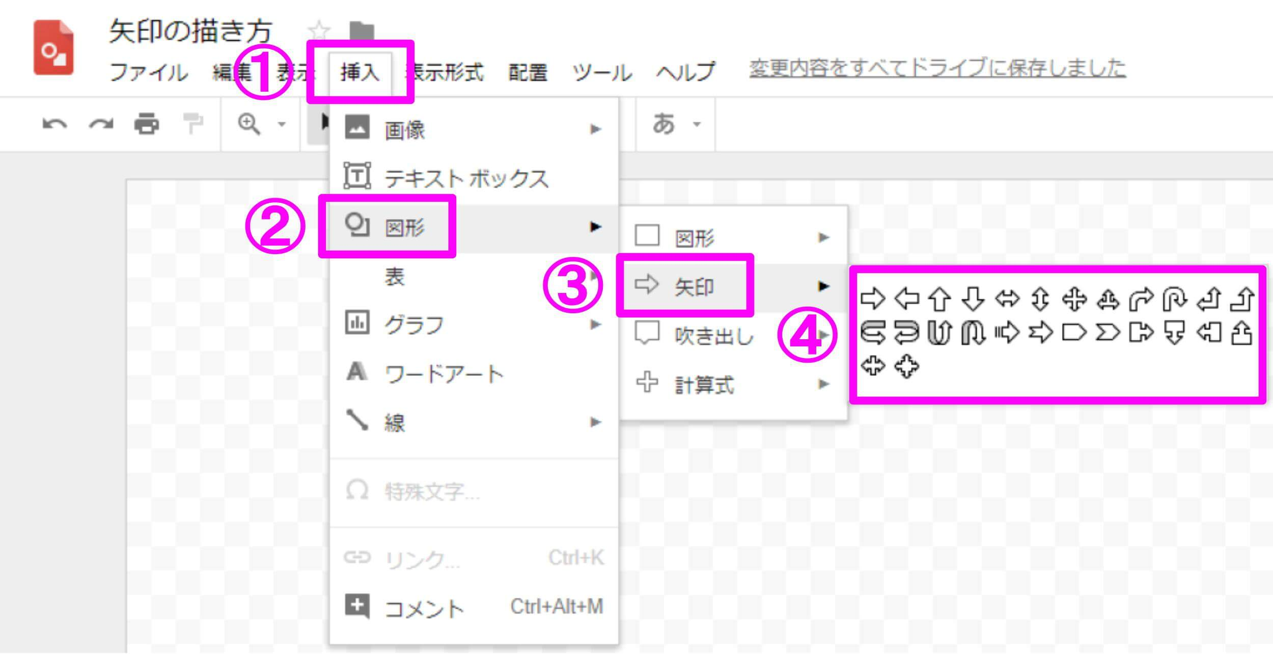 Google図形描画 矢印の描き方の手順