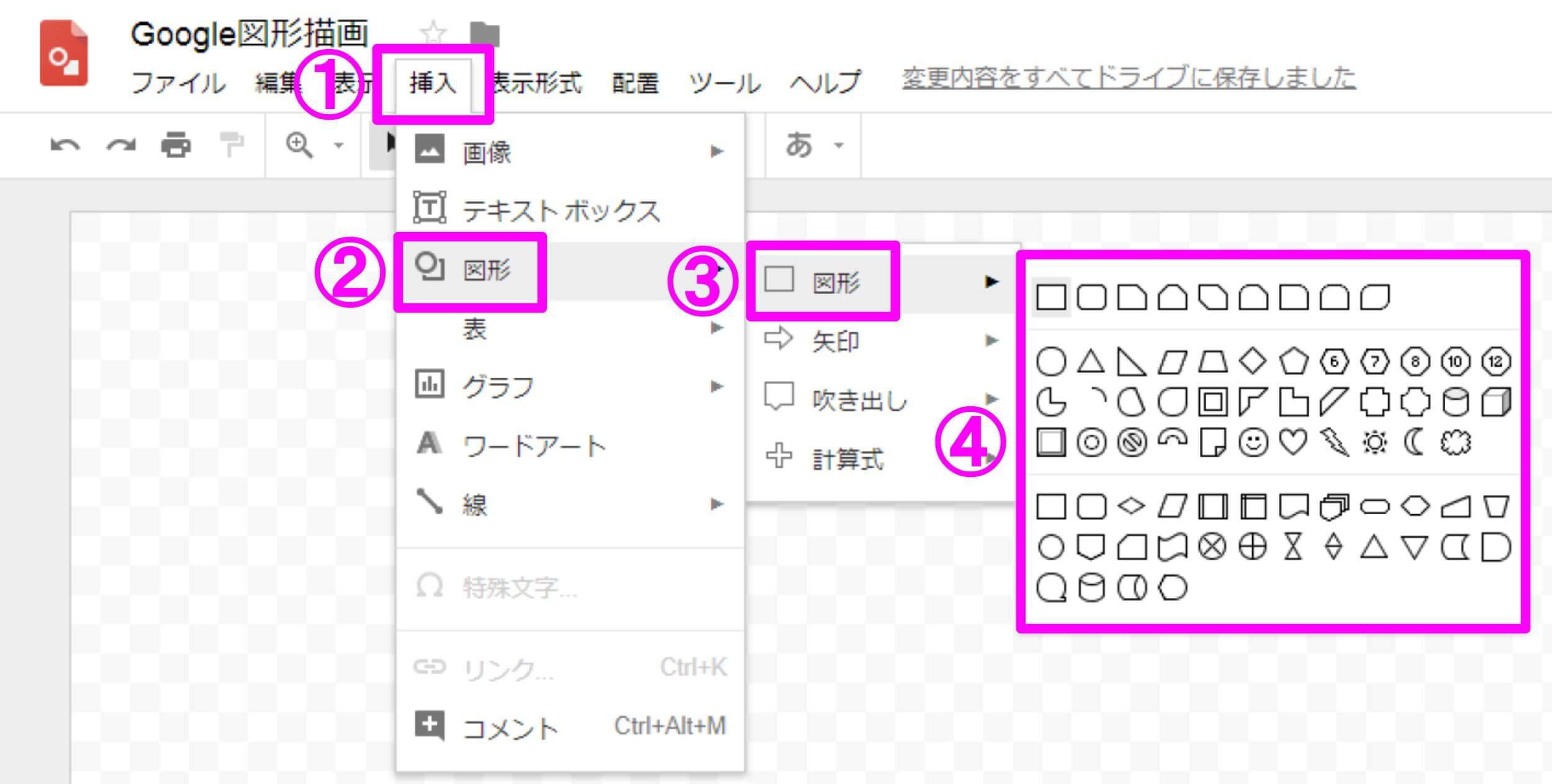 Google図形描画 図形の挿入手順