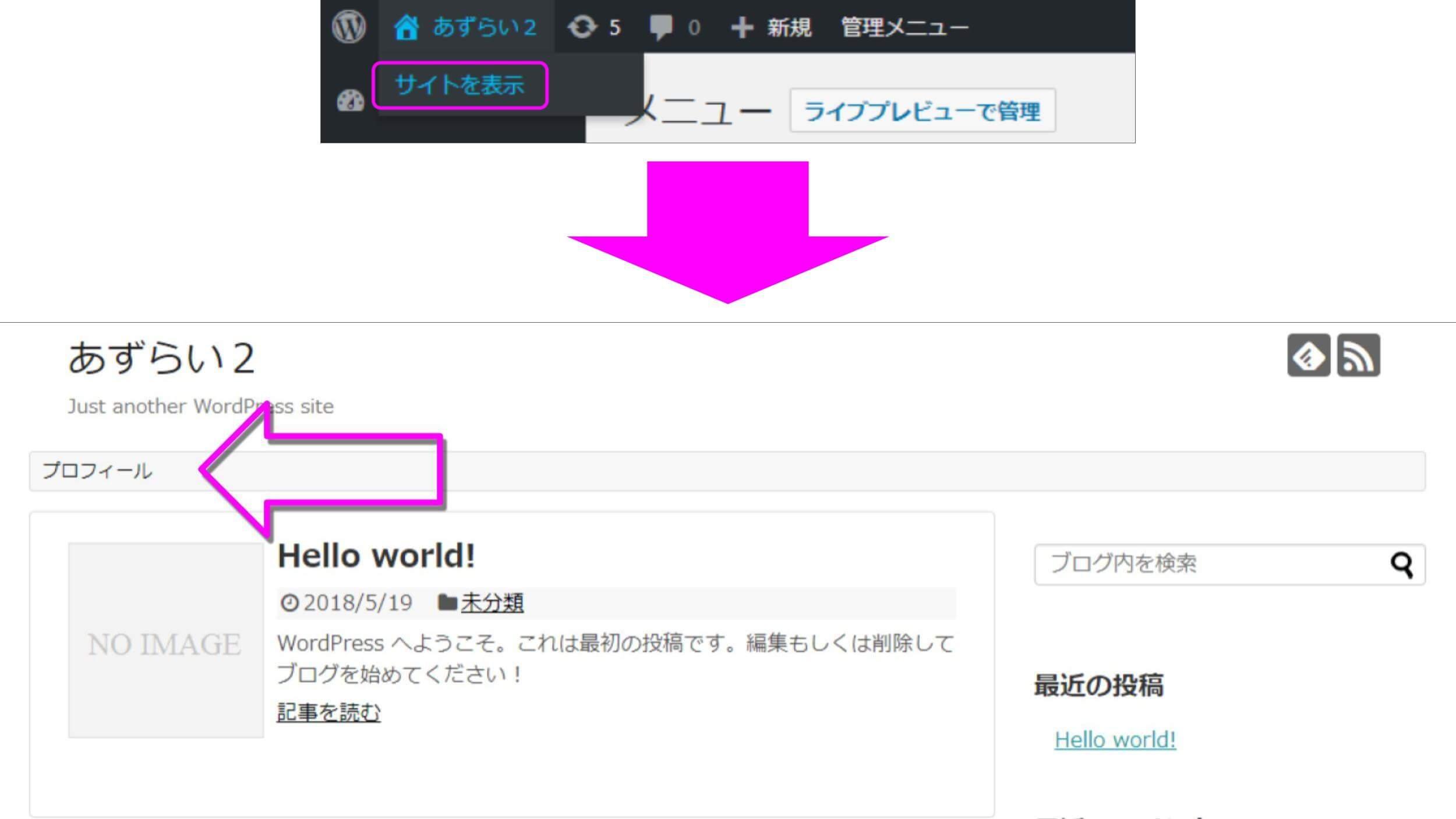 WordPress サイトを表示する手順