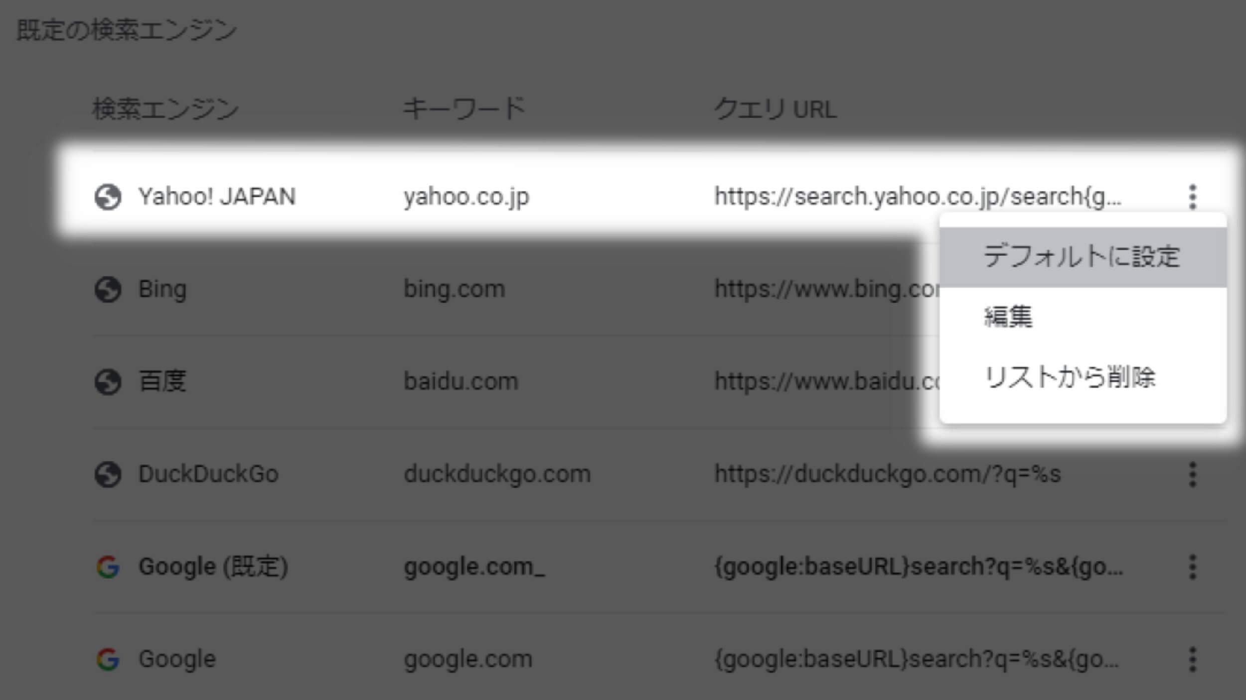 GoogleChrome設定→検索エンジン→既定の検索エンジンをYahooに設定